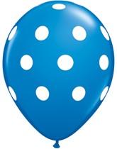"Dark Blue Big Polka Dots 11"" Latex Balloons 6pk"