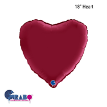 "Grabo Satin Cherry Red 18"" Heart Foil Balloon"
