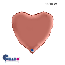 "Grabo Satin Rose Gold 18"" Heart Foil Balloon"