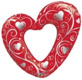 "Valentine's Hearts & Filigree SuperShape Balloon 42"""
