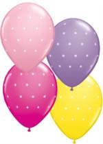 "Small Polka Dots 11"" Asst. Balloons 6pk"