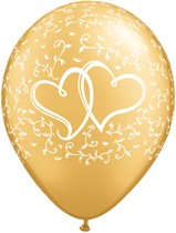 "Gold Entwined Hearts 11"" Latex Balloons 25pk"