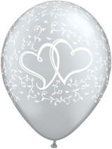 "Silver Entwined Hearts 11"" Latex Balloons 25pk"
