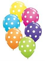 "Tropical Assorted Big Polka Dots 11"" Latex Balloons 50pk"