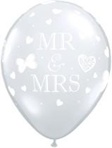 "Mr & Mrs 11"" Diamond Clear Latex Balloons 50pk"