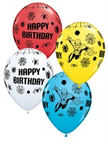 "Assorted Spiderman Happy Birthday 11"" Latex Balloons 25pk"