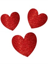 Valentine's Red Glitter Heart Cut Outs 20pk