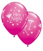 """Hen Night Bubbly 11"""" Latex Balloons 6pk"""