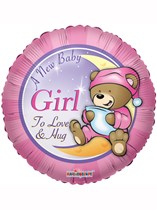"18"" Baby Girl Teddy Bear Foil Balloon"