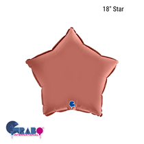 "Grabo Satin Rose Gold 18"" Star Foil Balloon"
