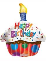 "Happy Birthday Cupcake Shape Foil Balloon 18"""