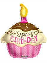 Happy Birthday Pink Cupcake Shape Foil Balloon 18""