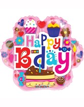 """Happy Birthday Cupcake Clear-View 18"""" Foil Balloon"""