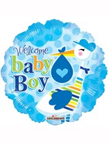 "18"" Baby Boy Stork Foil Balloon"