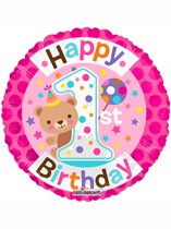 "Pink Happy 1st Birthday Teddy Foil Balloon 18"""