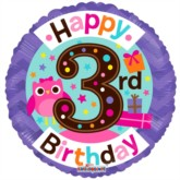 Happy 3rd Birthday Owl Foil Balloon 18""