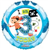 3rd Birthday Pirate Foil Balloon 18""