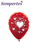 Sempertex Classic Hearts Red Latex Balloons
