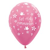 1st Holy Communion Pink Latex Balloons 25pk