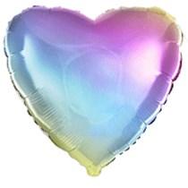 """Rainbow Gradient Pastel 18"""" Heart Foil Balloon"""