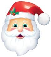 "Christmas Santa Head Foil Balloon 32"""