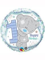 "Tiny Tatty Teddy Blue 1st Birthday 18"" Foil Balloon"