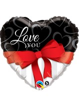 """Valentine's Day I Love You Red Ribbon 36"""" Foil Balloon"""
