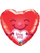 """I Love You Smiley Heart 18"""" Valentine's Day Foil Balloon"""