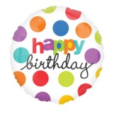"18"" Happy Birthday Spotty Foil Balloon"