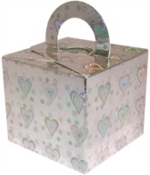 Balloon Weight/Gift Boxes Silver Holo Hearts - 10pk