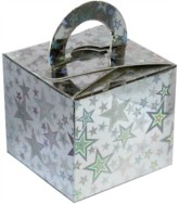 Balloon Weight/Gift Boxes Silver Holo Stars - 10pk