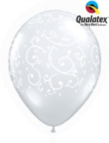 "Diamond Clear Filigree & Hearts 11"" Latex Balloons 50pk"