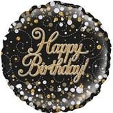"Happy Birthday Sparkling Fizz Black 18"" Foil Balloon"