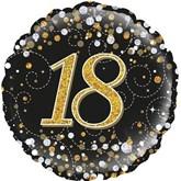 "18th Birthday Sparkling Fizz Black 18"" Foil Balloon"