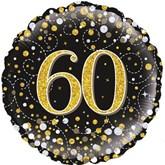 "60th Birthday Sparkling Fizz Black 18"" Foil Balloon"