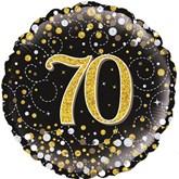 "70th Birthday Sparkling Fizz Black 18"" Foil Balloon"