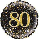 "80th Birthday Sparkling Fizz Black 18"" Foil Balloon"