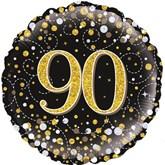 "90th Birthday Sparkling Fizz Black 18"" Foil Balloon"