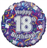 "18"" 18th Birthday Streamers Holographic Foil Balloon"