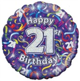 "18"" 21st Birthday Streamers Holographic Foil Balloon"
