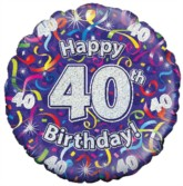 """18"""" 40th Birthday Streamers Holographic Foil Balloon"""