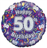 """18"""" 50th Birthday Streamers Holographic Foil Balloon"""