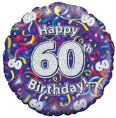 """18"""" 60th Birthday Streamers Holographic Foil Balloon"""