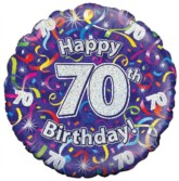 """18"""" 70th Birthday Streamers Holographic Foil Balloon"""
