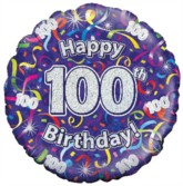 """18"""" 100th Birthday Streamers Holographic Foil Balloon"""