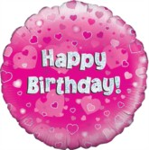 """18"""" Happy Birthday Pink Holographic Foil Balloon"""