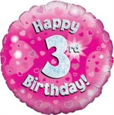 """18"""" 3rd Birthday Pink Holographic Foil Balloon"""