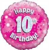 "18"" 10th Birthday Pink Holographic Foil Balloon"