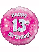 "18"" 13th Birthday Pink Holographic Foil Balloon"