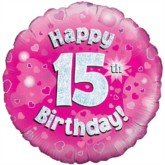 "18"" 15th Birthday Pink Holographic Foil Balloon"